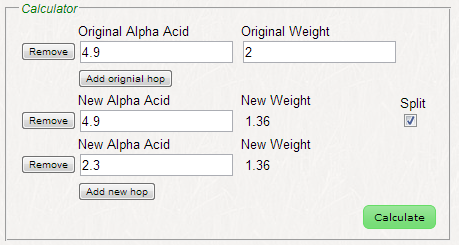 Advanced alpha acid calculator example 3
