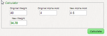 Image showing the Alpha Acid Calculator filled in.