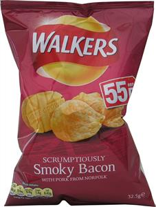Walkers Smoky Bacon Crisps (6's) 6 x 32.5g